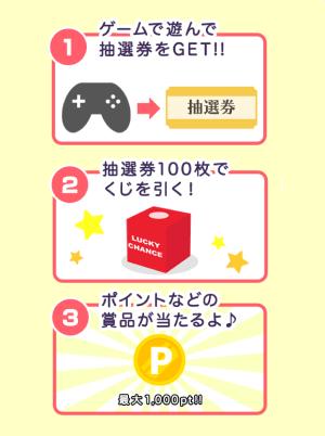 ゲームを遊ぶともらえる抽選券を100枚集めてくじを引くと、ポイントなどの商品が当たるよ!